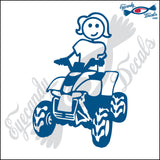 "STICK FAMILY LADY RIDING 4 WHEELER   5"" DECAL"