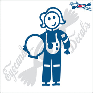 "STICK FAMILY LADY ASTRONAUT   5"" DECAL"