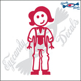 "STICK FAMILY LADY FARMER   5"" DECAL"