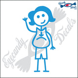 "STICK FAMILY LADY PREGNANT   5"" DECAL"