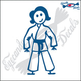 "STICK FAMILY LADY IN KARATE UNIFORM   5"" DECAL"