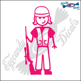 "STICK FAMILY LADY HUNTER   5"" DECAL"