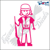 "STICK FAMILY LADY SHOOTER   5"" DECAL"