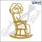 "STICK FAMILY LADY GRANDMA IN ROCKIN CHAIR   5"" DECAL"