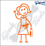"STICK FAMILY LADY HOLDING WINE BOTTLE   5"" DECAL"