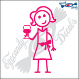 "STICK FAMILY LADY HOLDING WINE GLASS   5"" DECAL"