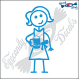 "STICK FAMILY LADY HOLDING BEER MUG   5"" DECAL"