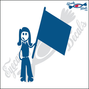 "STICK FAMILY LADY HOLDING FLAG   5"" DECAL"