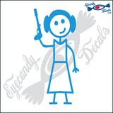 "STICK FAMILY LADY STAR WARS PRINCESS LEIA 1   5"" DECAL"