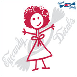 "STICK FAMILY LADY WITH AFRO   5"" DECAL"