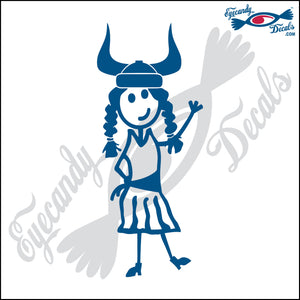 "STICK FAMILY LADY WEARING VIKING HELMET 6"" DECAL"