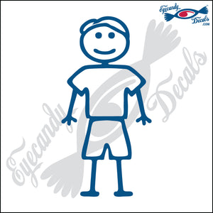 "STICK FAMILY MAN WEARING SHORTS   5"" DECAL"
