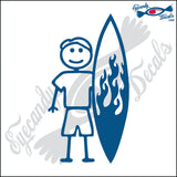 "STICK FAMILY MAN SURFER   5"" DECAL"