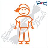 "STICK FAMILY MAN IN BACKWARDS HAT   5"" DECAL"