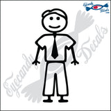 "STICK FAMILY MAN IN TIE   5"" DECAL"