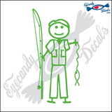 "STICK FAMILY MAN FISHING   5"" DECAL"