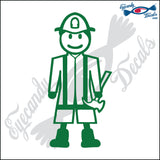 "STICK FAMILY MAN FIRE FIGHTER PLAYER   5"" DECAL"