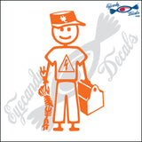 "STICK FAMILY MAN ELECTRICIAN   5"" DECAL"