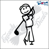 "STICK FAMILY MAN PLAYING GOLF   5"" DECAL"