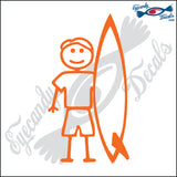 "STICK FAMILY MAN SURFER  PLAIN BOARD  5"" DECAL"