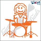 "STICK FAMILY MAN PLAYING THE DRUMS   5"" DECAL"