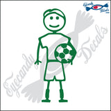 "STICK FAMILY MAN SOCCER PLAYER   5"" DECAL"