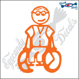 "STICK FAMILY MAN GRANDPA IN WHEELCHAIR   5"" DECAL"