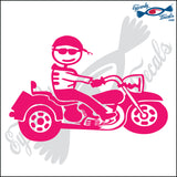 "STICK FAMILY MAN RIDING TRIKE   5"" DECAL"