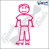 "STICK FAMILY MAN WEARING ROLLER SKATES   5"" DECAL"
