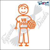 "STICK FAMILY MAN HOLDING VOLLEYBALL   5"" DECAL"