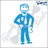 "STICK FAMILY MAN POLICE OFFICER   5"" DECAL"