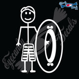 "STICK FAMILY MAN GOING TUBING   5"" DECAL"