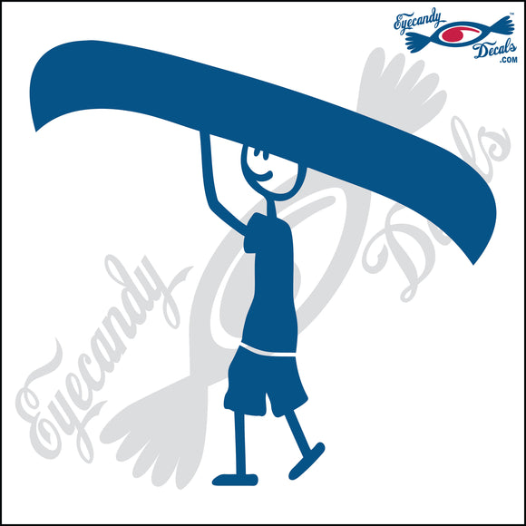 STICK FAMILY MAN CARRYING CANOE   5