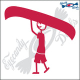 "STICK FAMILY MAN CARRYING CANOE   5"" DECAL"