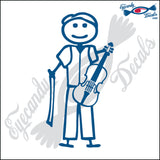 "STICK FAMILY MAN PLAYING VIOLIN   5"" DECAL"