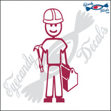 "STICK FAMILY MAN CONTRACTOR   5"" DECAL"