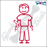 "STICK FAMILY MAN HAIR STYLIST   5"" DECAL"