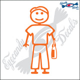 "STICK FAMILY MAN HOLDING WINE BOTTLE   5"" DECAL"