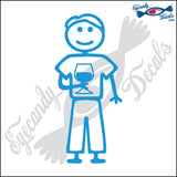 "STICK FAMILY MAN HOLDING WINE GLASS   5"" DECAL"