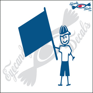 "STICK FAMILY MAN HOLDING FLAG   5"" DECAL"