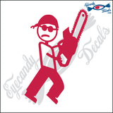 "STICK FAMILY MAN MANIAC WITH CHAINSAW   5"" DECAL"