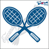 "TENNIS RACQUETS CROSSED 6"" DECAL"