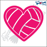 "VOLLEYBALL HEART 5"" DECAL"