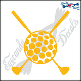 "GOLF CLUBS CROSSED WITH GOLF BALL 6"" DECAL"