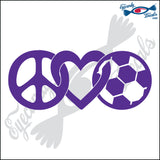 "PEACE LOVE AND SOCCER 7"" DECAL"