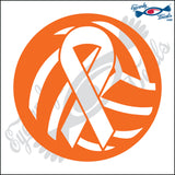 "VOLLEYBALL WITH BREAST CANCER RIBBON 5"" DECAL"