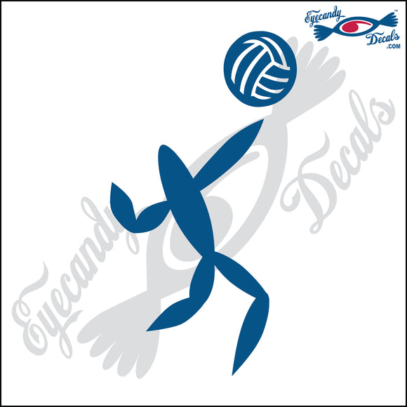 VOLLEYBALL HITTER ABSTACT ROUNDED 6 INCH  DECAL