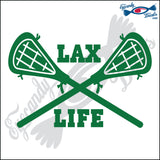 "LACROSSE STICKS CROSSED WITH LAX LIFE 6"" DECAL"