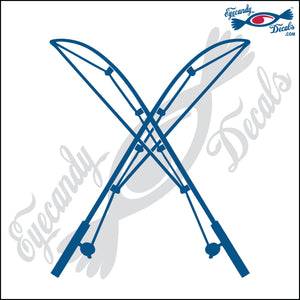 "FISHING RODS CROSSED 6"" DECAL"