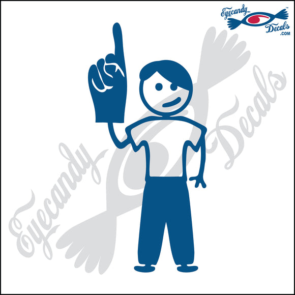 STICK FAMILY TEEN BOY HOLDING UP FOAM FINGER   4.5